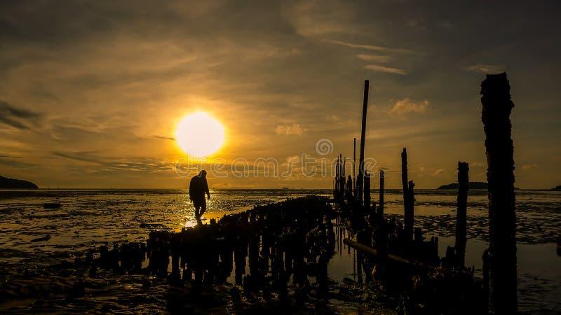 走在海滩的人剪影在日出 图库摄影