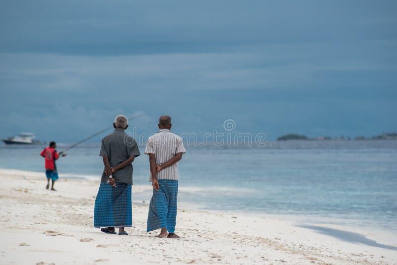 走在海滩的人 免版税库存图片