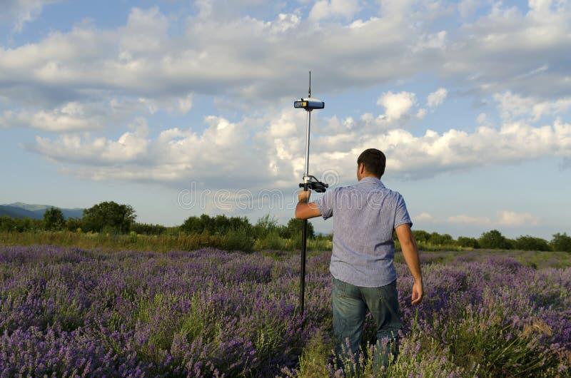 走在淡紫色领域的测量员 库存照片