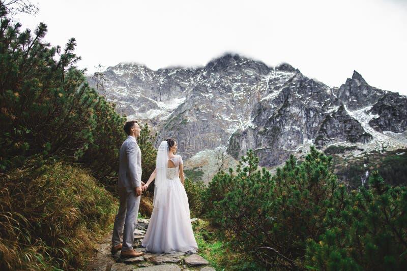 走在湖附近的婚姻的夫妇在太脱拉山在波兰 Morskie Oko 美好的夏日 免版税库存图片