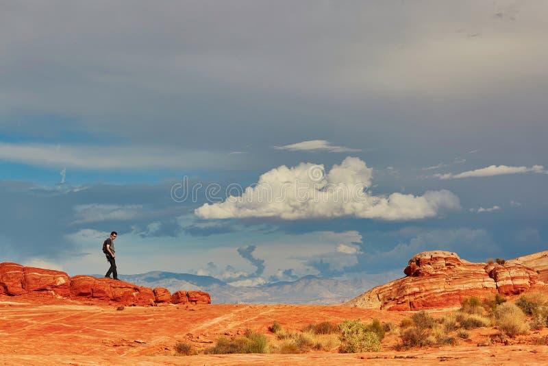 走在火国民同水准的谷的红色峭壁的游人 库存照片