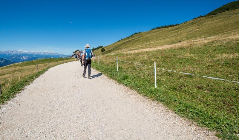 走在白云岩山的一串足迹,南Tyrolo,意大利的旅客 免版税图库摄影