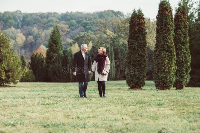 走在秋天公园的成熟夫妇 免版税库存图片