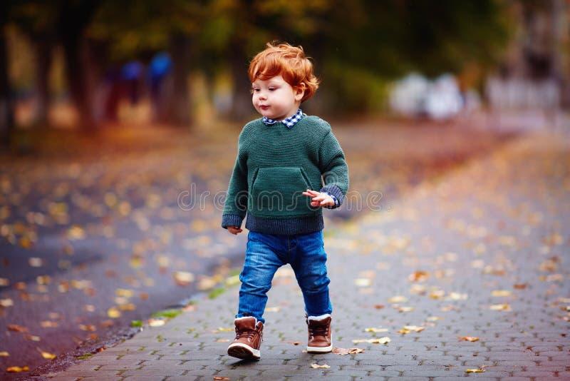 走在秋天在被编织的毛线衣和牛仔裤的城市街道上的逗人喜爱的红头发人小孩男婴 图库摄影