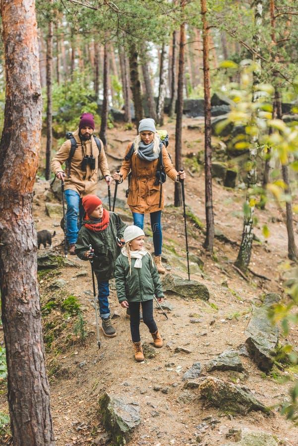 走在秋天森林里的家庭 免版税库存图片
