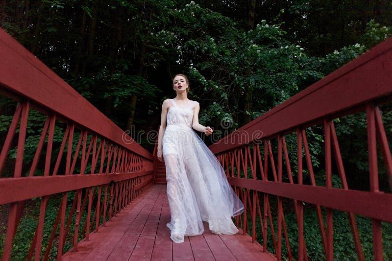 走在红色桥梁的一件流动的礼服的年轻美丽的女孩 库存照片