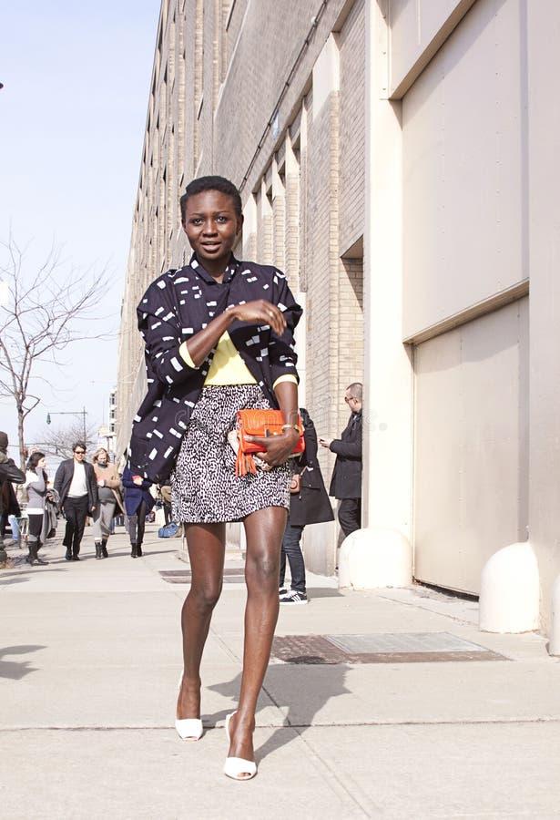 走在纽约的时髦的女人 免版税库存照片