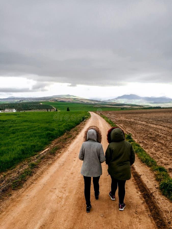 走在美丽的parkland的一条土路的夫妇看法  免版税库存照片