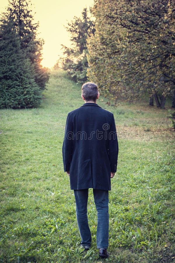 走在草草甸的人 库存照片