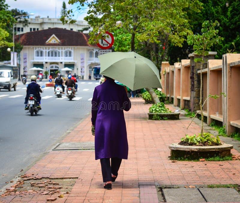 走在街道上的人们在大叻,越南 库存照片