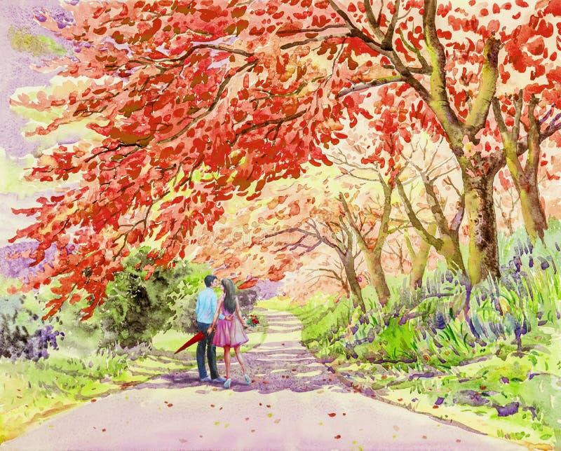 走在街道上的男性夫妇早晨从事园艺 免版税库存图片