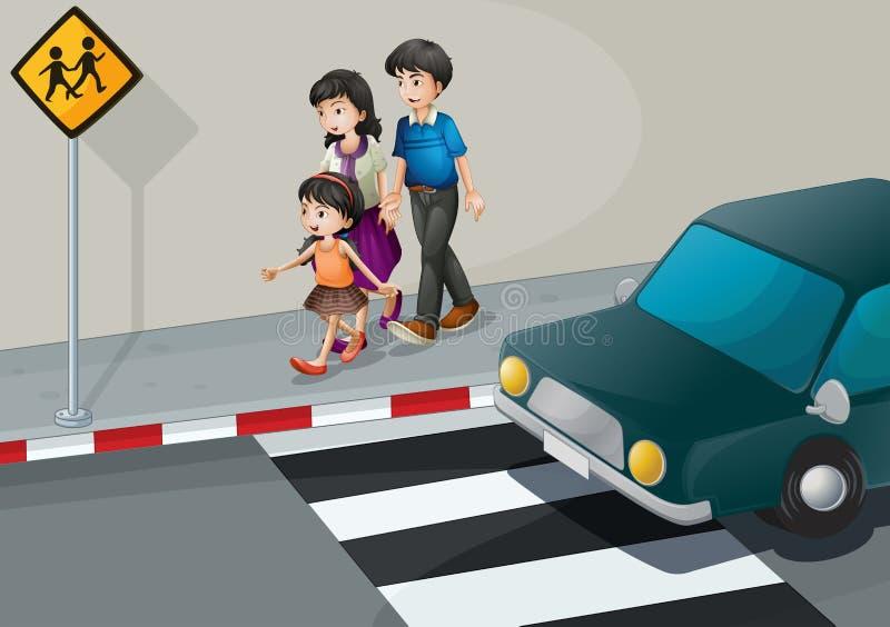 走在街道的家庭 向量例证