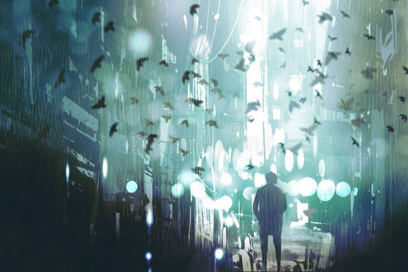 走在被放弃的城市的人 向量例证