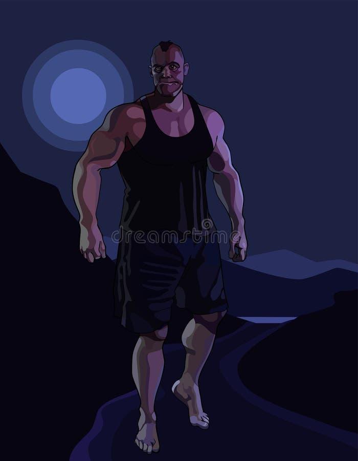 走在被月光照亮夜的动画片巨大的可怕的肌肉人 皇族释放例证