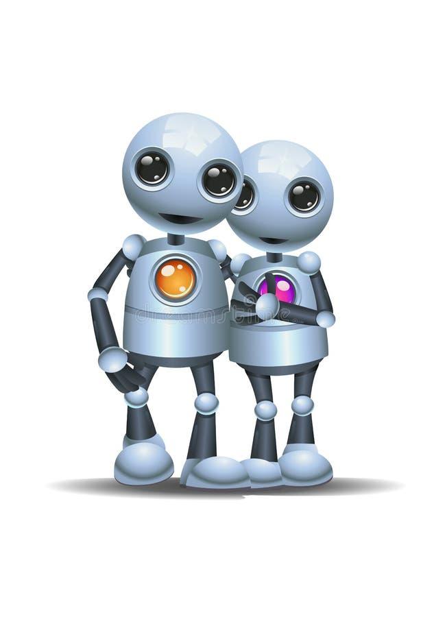 走在被隔绝的白色背景的一点机器人夫妇 向量例证