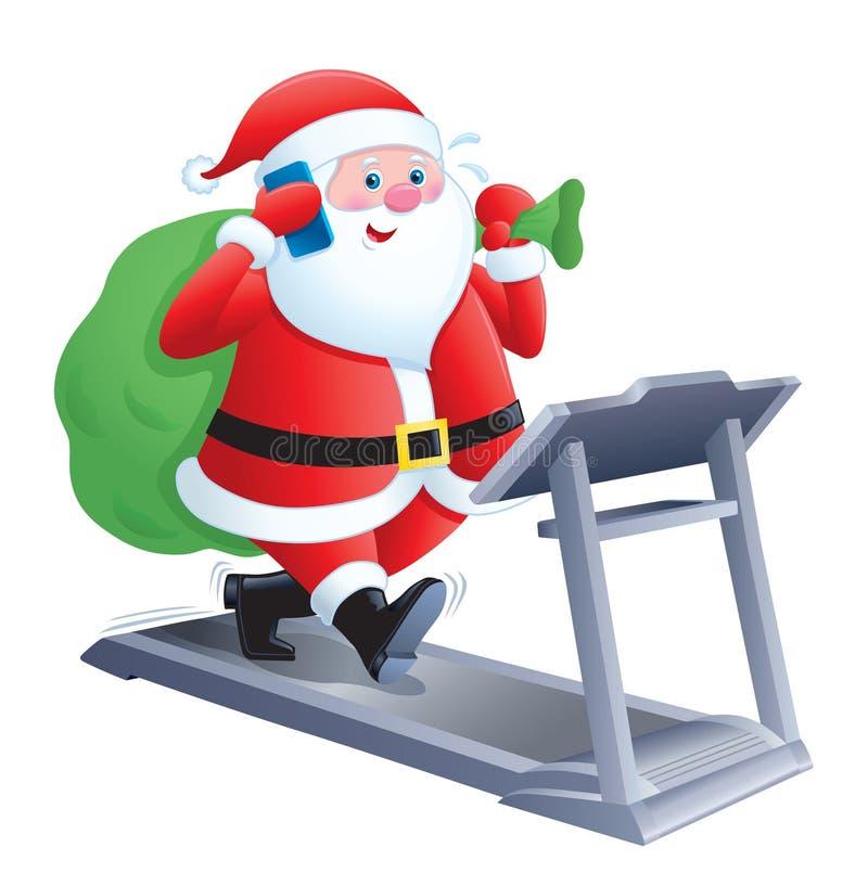 走在踏车的圣诞老人 向量例证