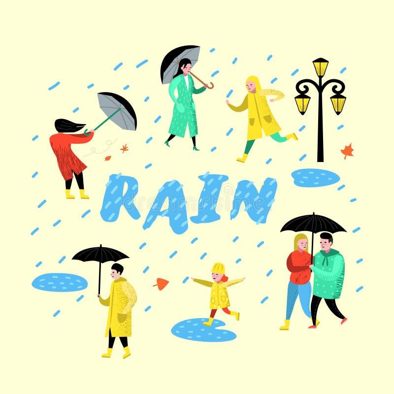 走在雨中的字符人 在雨衣的动画片有伞的 秋天多雨天气,秋季 皇族释放图片