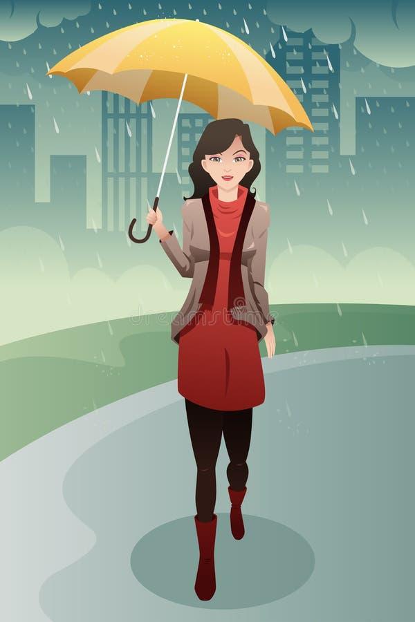 走在雨中的时髦的妇女运载伞图片