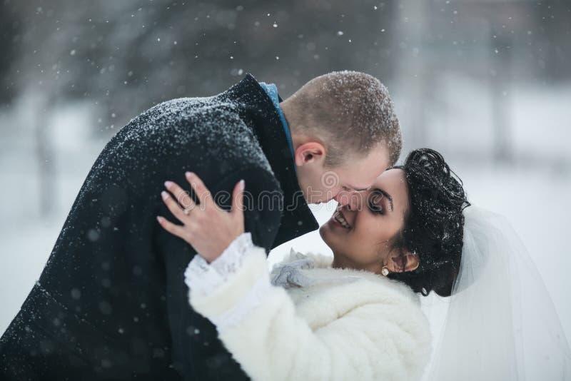 走在雪的欧洲城市的新娘和新郎 免版税库存图片