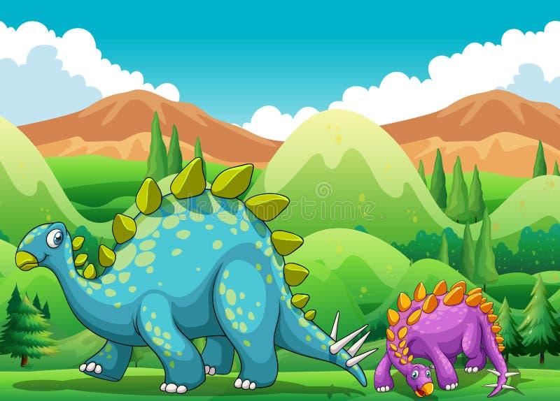 走在领域的逗人喜爱的恐龙 皇族释放例证
