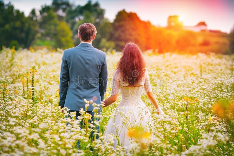 走在领域的年轻夫妇 免版税图库摄影