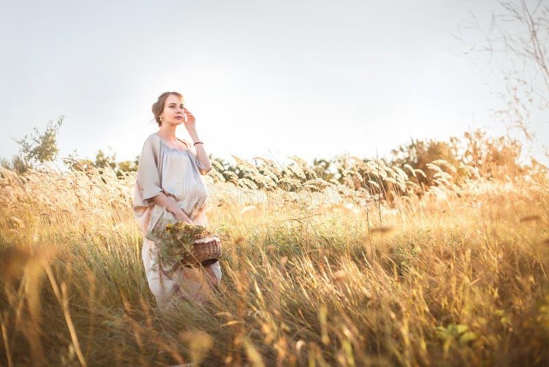 走在领域的年轻美丽的孕妇 免版税图库摄影
