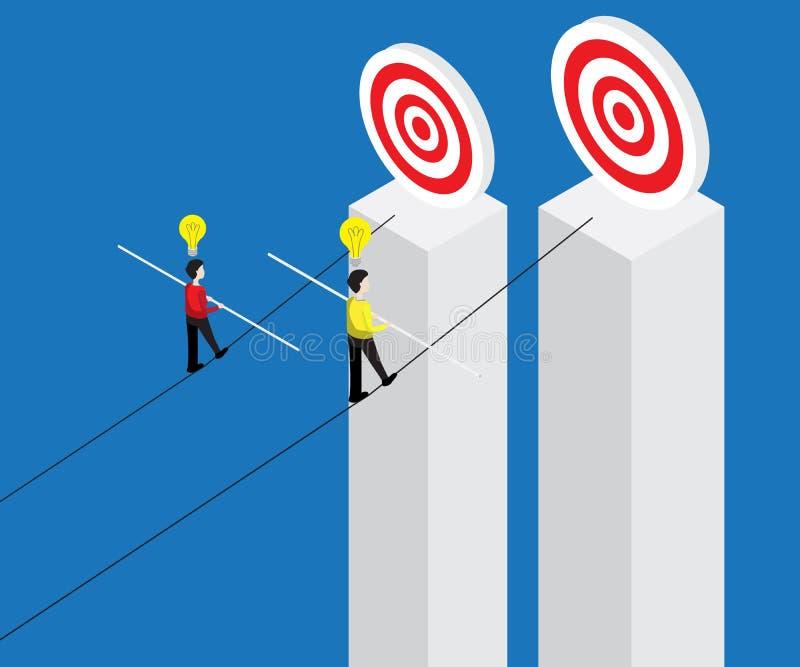 走在绳索的商人用平衡棍子瞄准 向量例证