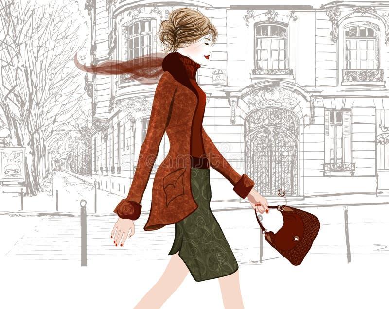 走在巴黎街道的少妇  皇族释放例证