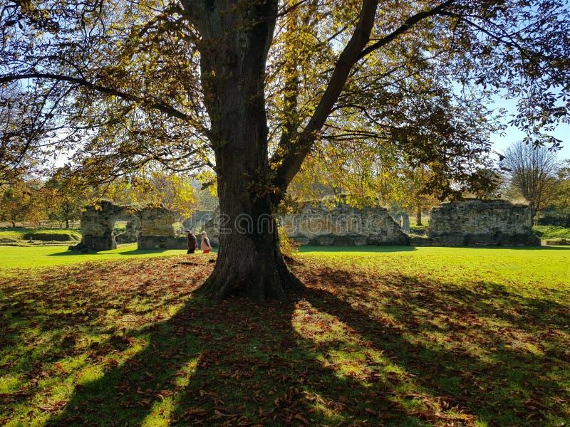 走在Hailes修道院废墟附近的人们在Cotswold,英国 免版税图库摄影