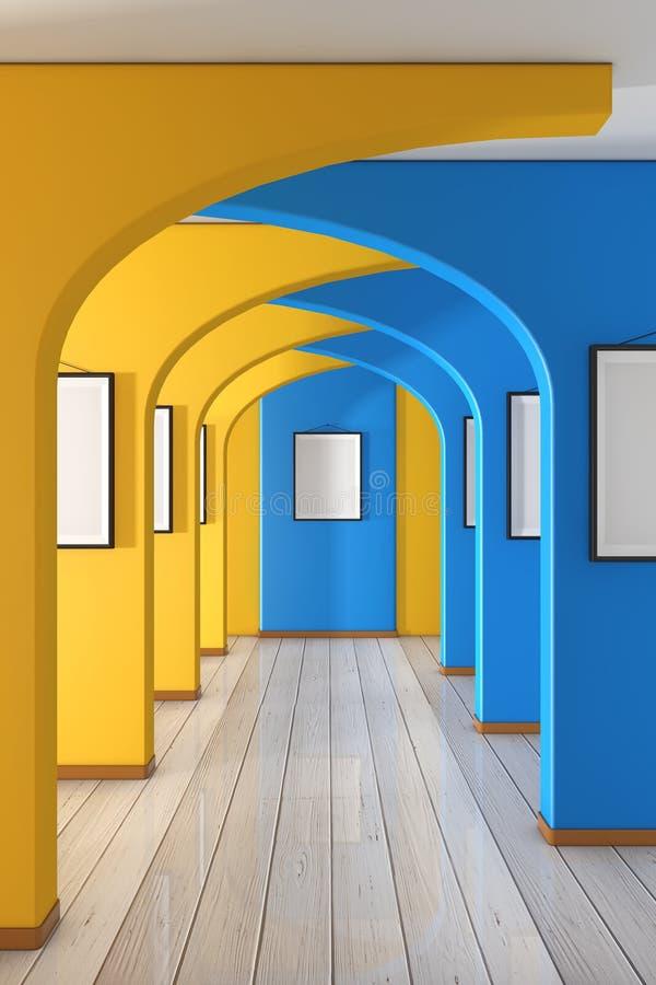 走廊与黄色和蓝色墙壁和空白的相框的走廊 3d?? 图库摄影