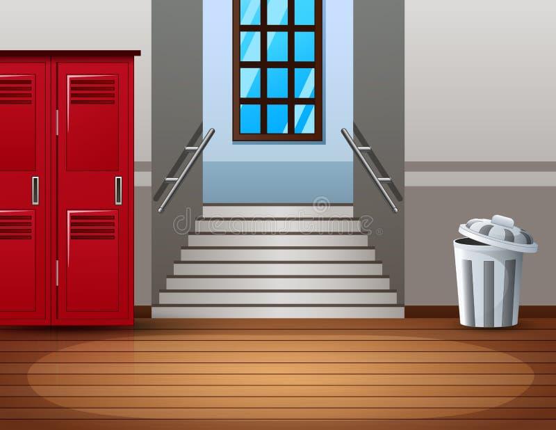 走廊明亮的学院内部有红色衣物柜的 库存例证