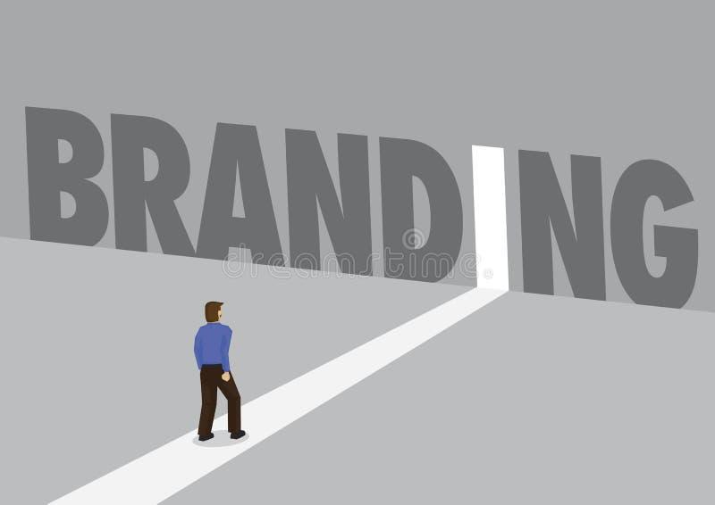 走往有文本品牌的一条轻的道路的商人 Bu 向量例证