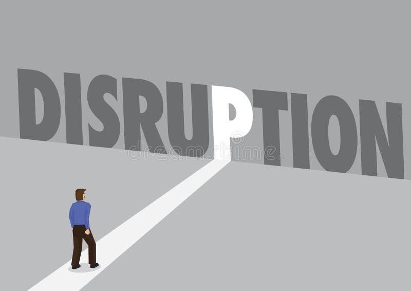 走往有文本disruptio的一条轻的道路的商人 向量例证
