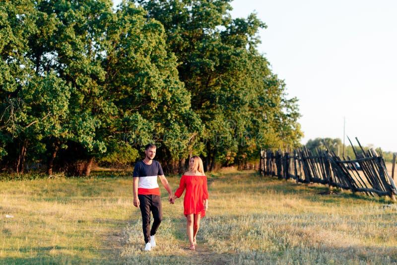 走户外在夏天的年轻美好的被迷恋的夫妇在日落 免版税库存照片