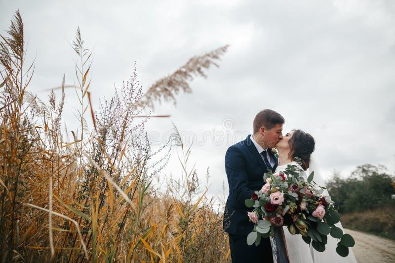 走新郎和新娘 免版税库存图片