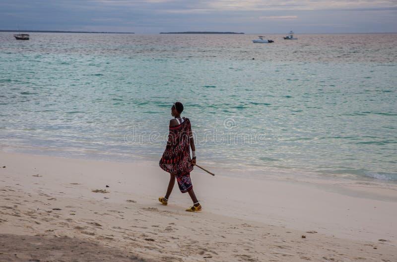 走沿岸的马塞语 免版税图库摄影