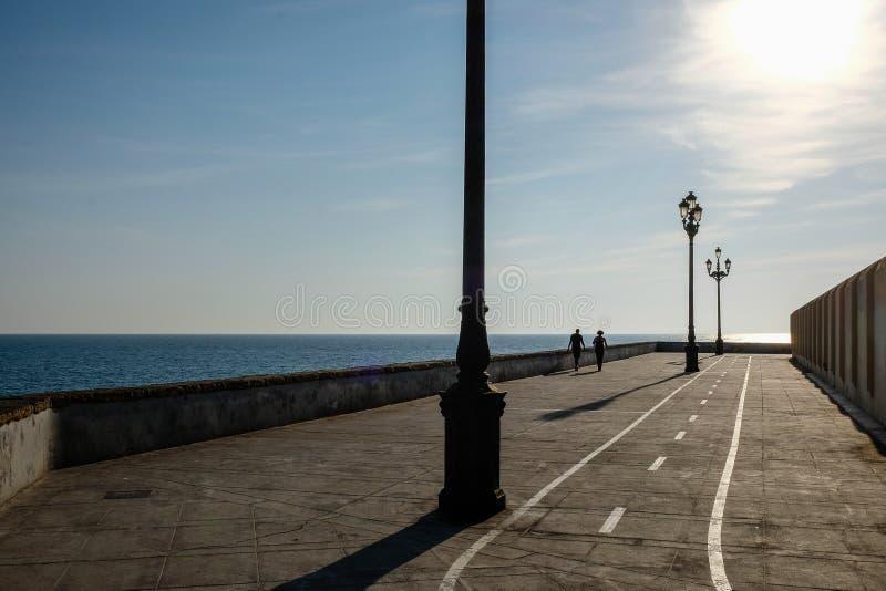 走沿海边的夫妇的剪影散步在日落 免版税库存图片