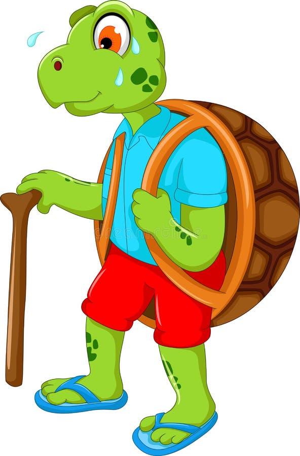 走用棍子的逗人喜爱的乌龟动画片 向量例证