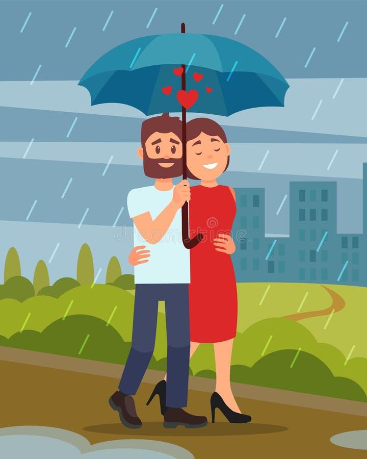 走由公园的年轻爱恋的夫妇在雨,拿着伞的人中 在背景的城市大厦 平的传染媒介设计 向量例证
