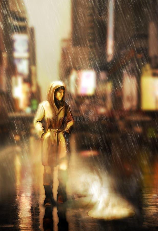 走由城市街道在雨下 皇族释放例证