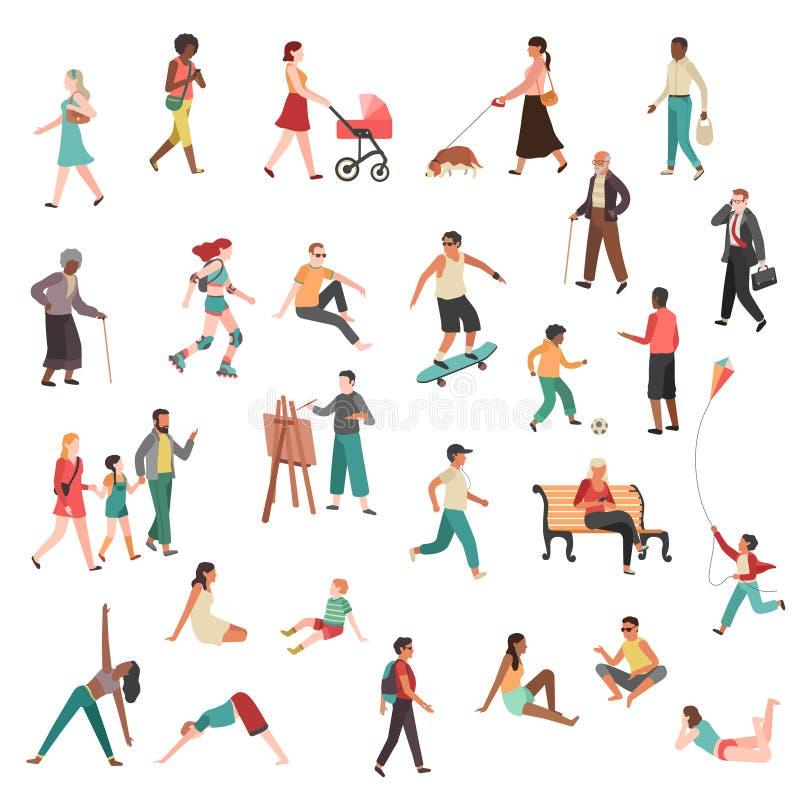走的人字符 平展谈人城市女孩夫妇人群现代妇女的人幼小小组街道自行车狗 库存例证