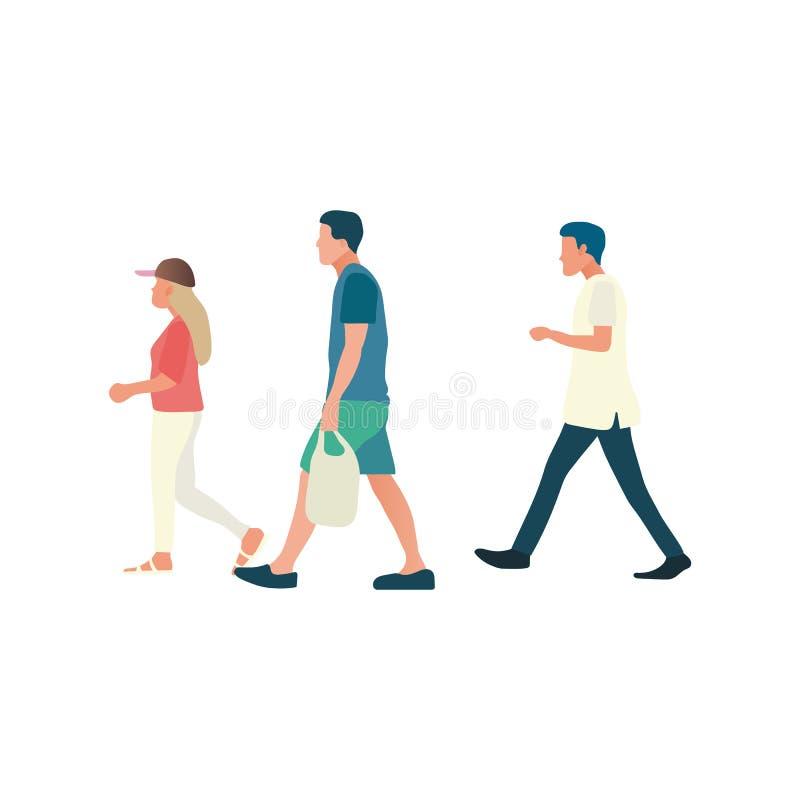 走的人放松有被隔绝的白色背景 平的设计人步行 男性和女性走 皇族释放例证