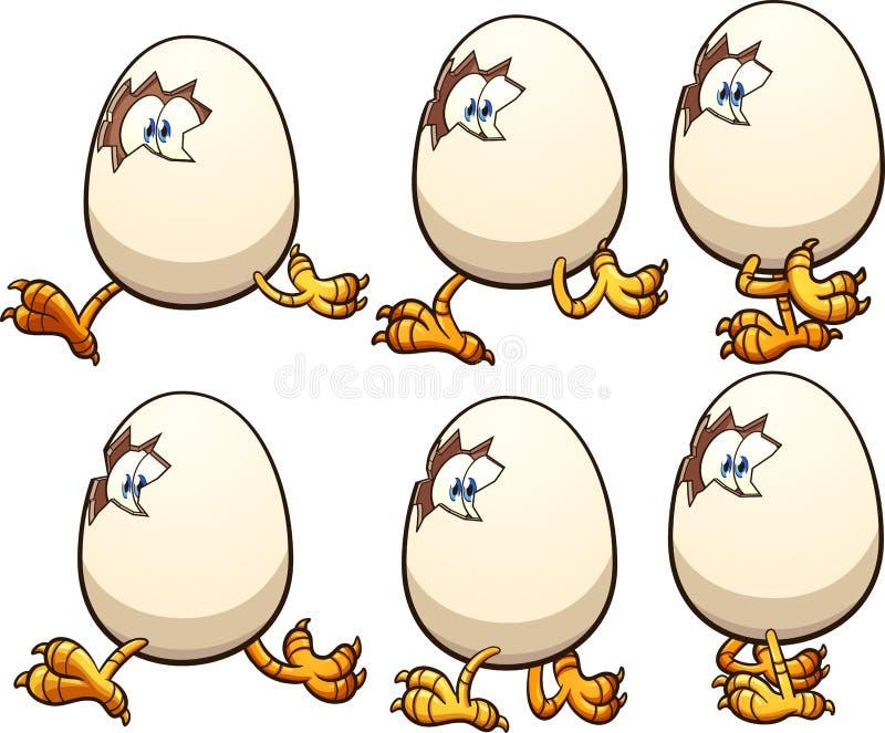 走的动画片鸡蛋 皇族释放例证