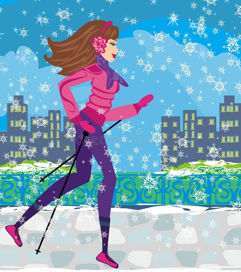 走的北欧人-行使在冬天的活跃妇女 库存例证