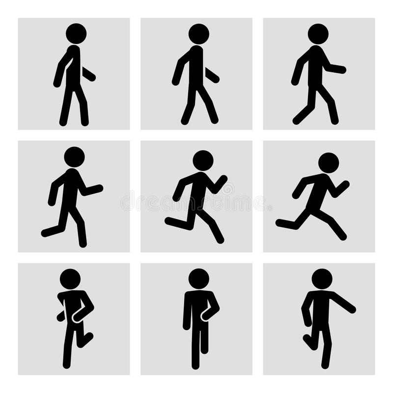 走的和跑的人传染媒介象 向量例证