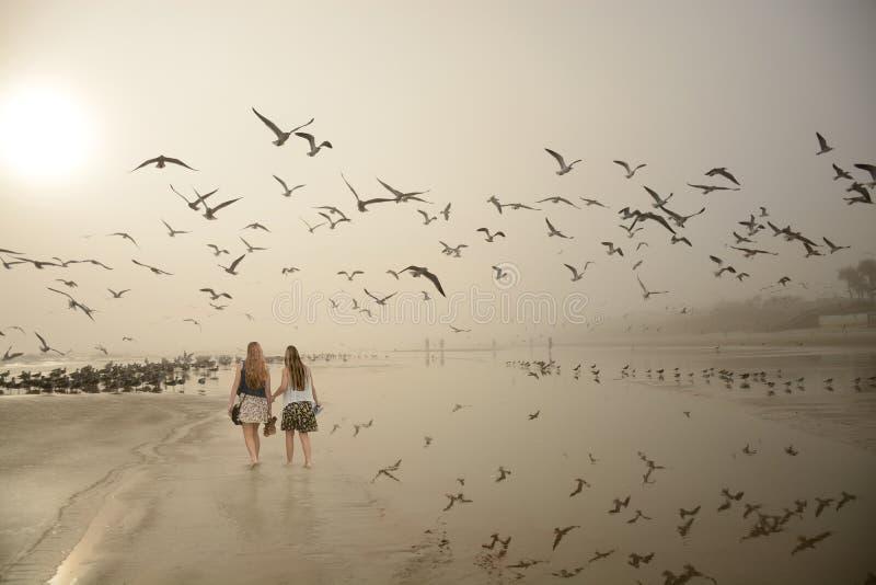 走的女孩,一起享受时间在海滩 免版税图库摄影