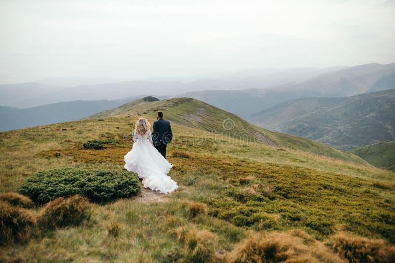 走的新娘一对美好的夫妇外面 库存照片