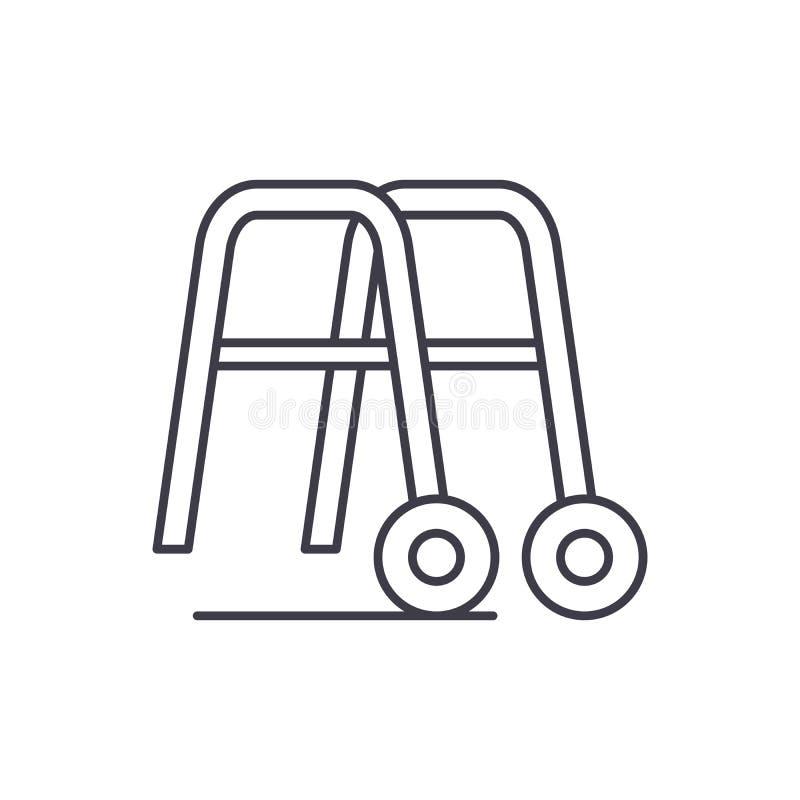 走的线的象概念扶手栏杆 走的传染媒介线性例证的,标志,标志扶手栏杆 皇族释放例证