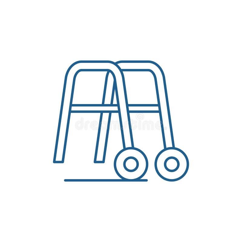 走的线的象概念扶手栏杆 走的平的传染媒介标志,标志,概述例证扶手栏杆 皇族释放例证