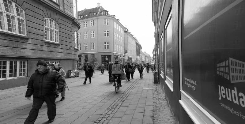 走的街道在哥本哈根 库存照片